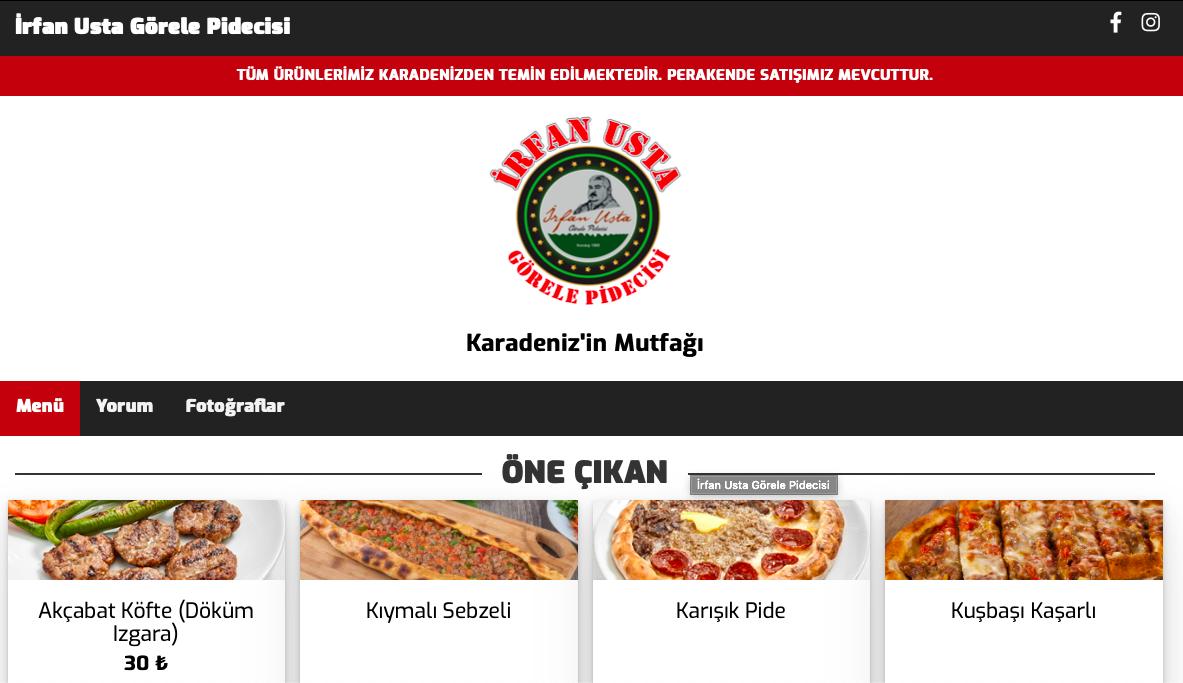 Karadeniz'in Mutfağı İrfan Usta Görele Pidecisi Dijital Menü İçin Bizi Tercih Etti