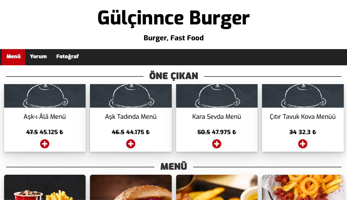 Gülçinnce Burger Dijital Menü İçin Bizi Tercih Etti