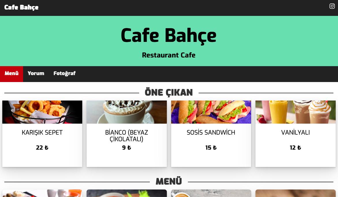Cafe Bahçe Dijital Menü İçin Bizi Tercih Etti