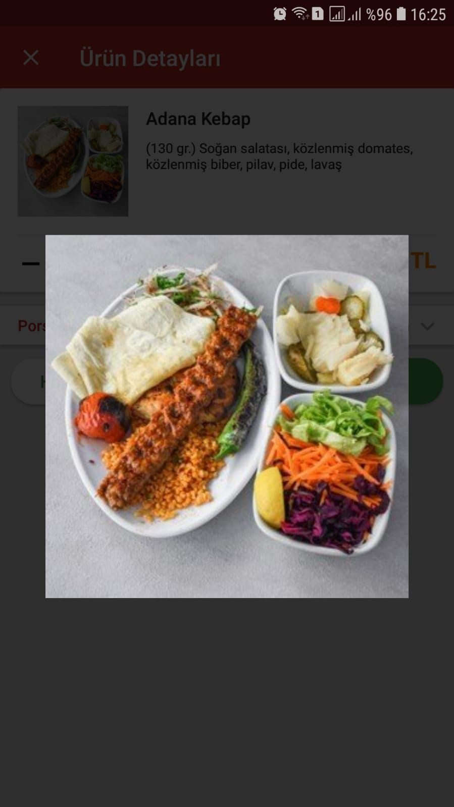 Uludağ Kebap Adana Kebap + Salata